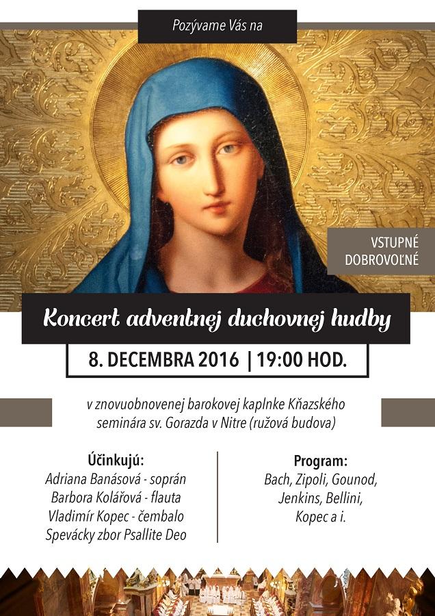 Pozvánka na koncert adventnej duchovnej hudby